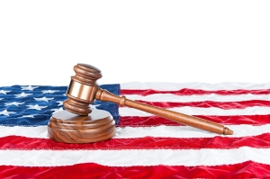 Judge's Gavel on U.S. flag