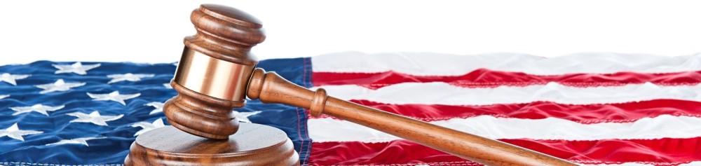 Judge's Gavel with U.S. flag