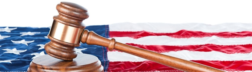 Judge's Gavel with U.S. flag