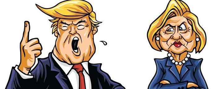 Presidential candidates Donald Trump vs Hillary Clinton